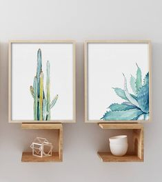 Watercolor Cactus Aloe Vera Set of 2 Prints, Watercolor Painting, Leaves Drawing, Plant Illustration, Green Blue Yellow Minimalist Wall Art, Succulents, Modern Wall Decor, Summer Wall Art Important information for all prints: 1. The prices can be found over on the right in the