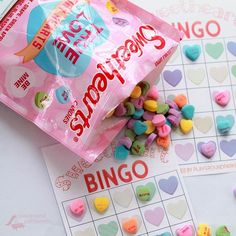 The perfect party game - Valentine Bingo - featuring printable cards with conversation hearts, your favorite Valentine candy Valentine Bingo, Valentines Games, Valentine Day Crafts, Valentine Heart, Craft Activities For Kids, Crafts For Kids, Heart Bingo, Weird Holidays, Converse With Heart