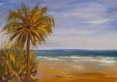 "*153 PAINTINGS* #30 ""West Coast Beach"" TLWEST 5x7""Florida NR! Palm tree Charity"