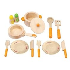 Wooden Kitchen Play Set Utensils Toddler Kitchen Toy Fun Food Cooking Role Play