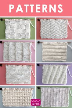 Knit Stitch Patterns for Beginning Knitters Studio Knit different knitting styles - Knitting Techniques Beginner Knitting Patterns, Knitting Basics, Dishcloth Knitting Patterns, Sweater Knitting Patterns, Crochet Patterns, Baby Blanket Knitting Pattern Free, Knitting Projects, Rib Stitch Knitting, Knitting Stiches