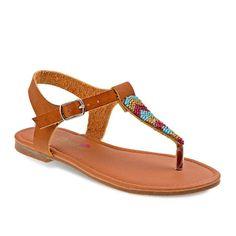 Petalia Girls' Beaded Thong Sandals, Girl's, Size: 12, Brown