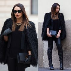 Asos Faux Fur Coat, Zara Blazer, J Brand Leather Leggings, Saint Laurent Clutch, Guess? Boots, Chanel Sunglasses