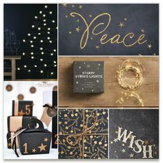'inspiration boards challenge-sparking peace', on Minted.com | holiday trends 2013 - black & white + gold