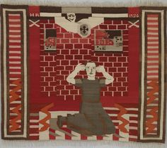 """Hannah Ryggen. Fear (from the Civil War in Spain), tapestry, on view in """"Hannah Ryggen. Weaving the World, at The National Museum, Oslo, Norway, June 12 – October 4, 2015.   Hannah Ryggen. Weaving the World - The National Museum"""