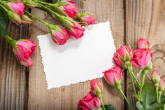 Photo about White card and pink roses on a wooden background. Image of background, pink, roses - 31490065 Wallpaper Nature Flowers, Flower Backgrounds, Camping Wallpaper, Molduras Vintage, Stickers Design, Creative Flower Arrangements, Invitation Maker, Birthday Frames, Table Design