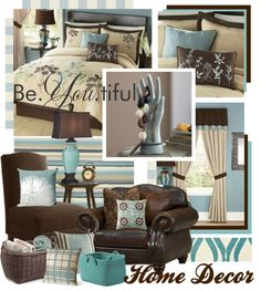 """""""Teal Brown and Beige Home Decor"""" by queenrachietemplateaddict ❤ liked on Polyvore"""
