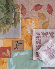 Leaf-Printed Napkins, Table Clothes, or Placemats.  Rubber stamps and fabric paint would make this really easy.