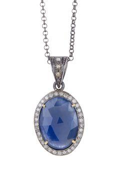 Sapphire Diamond Halo Oval Pendant Necklace - 0.38 ctw