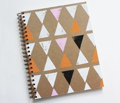Cute pattern - DIY Notebook cover. A great idea for a journal with personality!