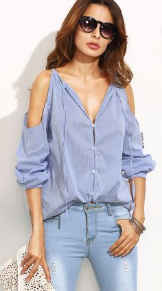 31b3a7cb06 SheIn offers Striped Tie Neck Cold Shoulder Blouse   more to fit your  fashionable needs.