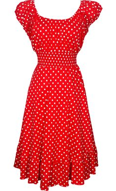 Polkadot Peasant Sundress Rockabilly $44.99.  I love this dress in theory.  But when I tried it on I looked like a hooker gone to seed.