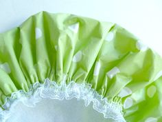 Shower Cap Lime Green Polka Dots Spa Heaven by GiftCreation, $18.50