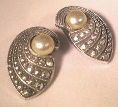Vintage 1930s Earrings Marcasite with Faux Pearl by NfrKaVintage, $25.00