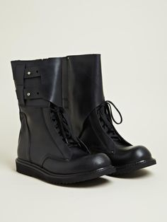 Rick Owens Men's Leather Military Boots | LN-CC