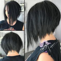 Inverted Black Bob With Choppy Ends