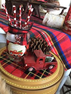 Warm up with the ideas in this Vintage Rustic Plaid Christmas Party at Kara's Party Ideas! See the adorable and on point ideas here! Christmas Red Truck, Plaid Christmas, Christmas Toys, Christmas Themes, Vintage Christmas, Christmas Decorations, Birthday Party Decorations, Baby Shower Decorations, Birthday Ideas