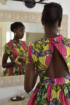 Pink yellow jungle leaf textile casual pretty African cotton skirt and open back top 2015
