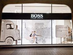 Hugo Boss 'Love Story' windows by LIGANOVA , Paris visual merchandising Visual Merchandising, Branding, Hugo Boss Store, Store Interiors, Environmental Design, Design Furniture, Window Design, Store Fronts, Tents