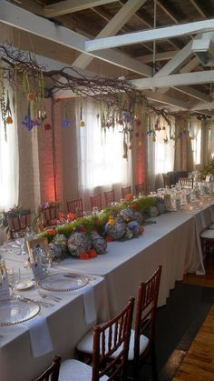 Head table for a wedding reception at BridgeStreet Gallery and Loft.