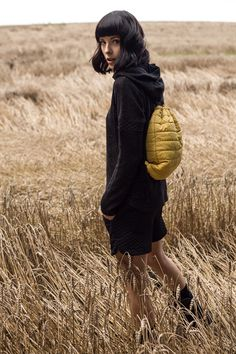 Yellow quilted backpack. FW 2014/15 collection.
