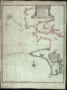 Carte de la baie de Brest et des environs depuis Porsal jusque a Plemarcq.    Auteur : Du Bocage, Georges Boissaye (16..-1696) Date : 1684  Taille : 1898x2536 (1 MO)  Origine : BNF