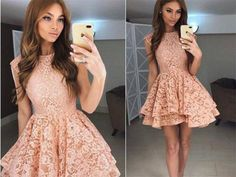 Pretty A-line Lace Short Homecoming Dresses,Princesss Dresses - Thumbnail 1