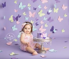 Cake Smash, Butterfly Cake Smash, Pink and Purple Cake Smash, Smash Cake Session, Girl Cake Smash, Butterfly Birthday, Pretty Cake Smash, Girly Cake Smash, Brandie Narola Photography