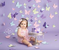 Cake Smash, Butterfly Cake Smash, Pink and Purple Cake Smash, Smash Cake Session, Girl Cake Smash, Butterfly Birthday, Pretty Cake Smash, Girly Cake Smash, Brandie Narola Photography
