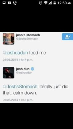 THERES A TWITTER ACCOUNT THAT IS DEVOTED TO BEING JOSH DUNS STOMACH