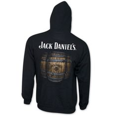 Show off your great taste with this black Jack Daniels hoodie. Made from a cotton/poly blend, this sweatshirt features a small white Jack Daniels logo on the front and a large whiskey barrel logo on t Jack Daniels Merchandise, Jack Daniels Logo, Jack Daniels Distillery, Home Brewing Beer, Kinds Of Clothes, Jack Black, Slushies, Barrel, Hoodies