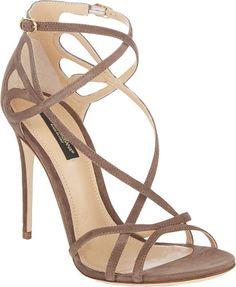 DOLCE & GABBANA Cutout crisscross-straps sandals found at Nudevotion.com #darknude
