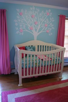 baby girl room colors and tree... ok so this is the actual crib were gonna get. now it will either be white or brown depending if boy or girl. and gray walls with either blue or pink accents in the room. i have decided