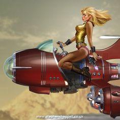 Thrill of the chase Fantasy Art Women, Fantasy Girl, Arte Do Pulp Fiction, Steampunk, Cyberpunk Girl, Spaceship Art, Train Pictures, Barbarella, Retro Futuristic