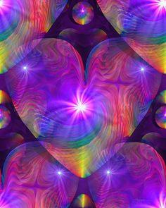 Chakra corazón energía arte Reiki Rainbow remolino arte psicodélico impresión 8 x 10