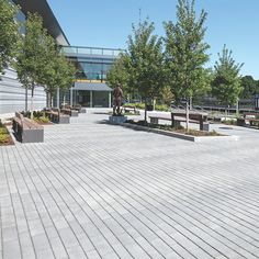 The outdoor plaza At Bentley University Arena has been paved with over 3,500 square feet of permeable paving to reduce storm water. Scaled to accommodate 2,000-3,400 person events, Eco-Line® Platform from the Permeable Collection was chosen because it is cost-effective, heavy-duty and durable. The plaza will provide a gathering place to welcome the entire Bentley community for many years to come. #permeableplank #peremablepaving #unilock #plankpavers #modernpaving #landscapedesign