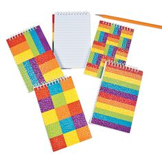 Perfect for party gift bags. Rainbow Glitter Spiral Notepads - OrientalTrading.com #birthday