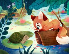 Fox Meeting a Turtle on Behance Illustration Artists, Children's Book Illustration, Character Illustration, Digital Illustration, Fox Character, Character Design, Fox Drawing, Love Drawings, Art Plastique