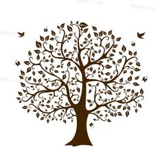 tree silhouette digital clipart vector eps svg dxf png files Clip Art Images Instant Download