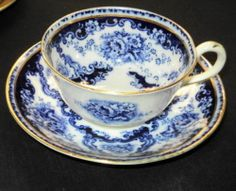 Antique Royal Albert Rose Cluster Flow Blue Tea Cup and Saucer |