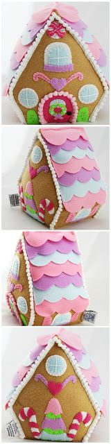 Adorable pastel felt plush gingerbread cottage.