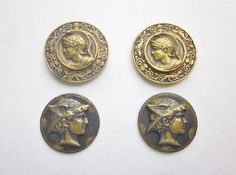 Mythology Buttons.  Hector Trojan Warrier With Dogs of War Border. Mercury Oldest Greek God Buttons. 1800's Picture Buttons B317 by OneWomanRepurposed on Etsy