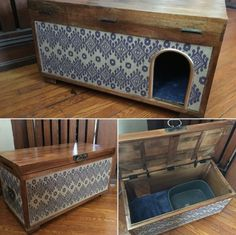 Cutest way to hide cat litter box ! My husband and I did that . - Hund und Katze alles was man wissen muss - Hidden Litter Boxes, Diy Litter Box, Litter Box Enclosure, Cat Room, Pet Furniture, Dog Houses, Diy Stuffed Animals, My New Room, Home Projects