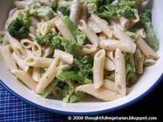 The Thoughtful Vegetarian: PASTA AND BROCCOLI IN CREAMY MOZZARELLA SAUCE