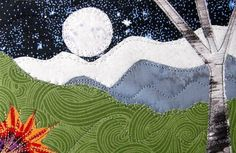 Handmade Fabric Postcard Mountain Moonlight Quilted by SewUpscale, $12.00