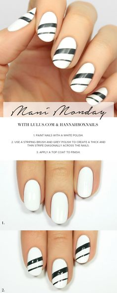 Mani Monday: White and Grey Striped Nail Tutorial at LuLus.com!