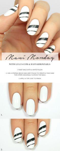 Mani Monday: White and Grey Striped Nail Tutorial | Lulus.com Fashion Blog | Bloglovin'