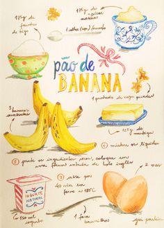 PÃO DE BANANA 125 g de manteiga derretida  150 ml de iogurte natural  2 ovos  3 bananas amassadas  175 g de farinha de trigo  175 g de açúcar mascavo  1 colher (sopa) de fermento  um punhado de nozes picadas  1 fava de baunilha (opcional)