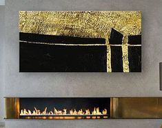 Horizontal Abstract Painting, Large Abstract Painting Art, Large Rectangular Horizontal Canvas Art, Black And Gold Leaf Horizontal Painting #artpainting