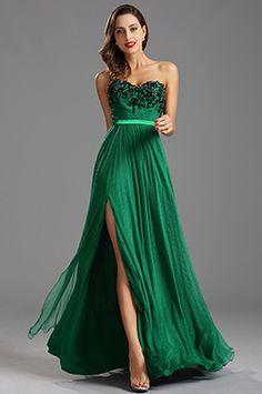 Зелёное Выпускное Вечернее Платье без Бретелек (00160204)